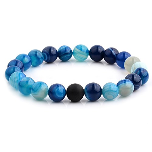 - Crucible Jewelry Mens Polished Blue Agate and Matte Onyx Beaded Stretch Bracelet (10.5mm Wide), One Size