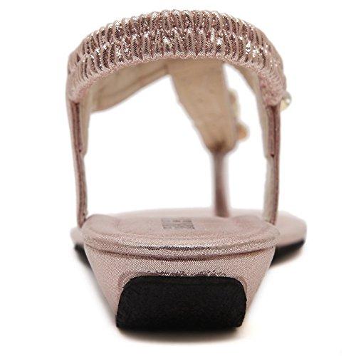 AalarDom Damen Getrennt Zehe Niedriger Absatz Rein Ziehen Auf Sandalen Pink-4G