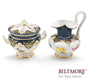 (Vanderbilt Porcelain Sugar Bowl and Creamer Set Designed From Biltmore House Sevres Tea Collection)