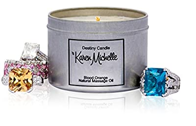 Wellness Blood Orange Scented Massage Oil Aromatherapy Candle | Beautiful Piece of Jewelry Inside Every Candle | Destiny Candle by Karen Michelle | A Perfect Way to Rekindle the Romance