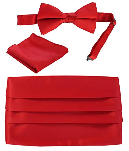 Red Cummerbund Set (Gioberti Men's Adjustable Satin Cummerbund Set With Formal Bow Tie and Pocket Square, Red)