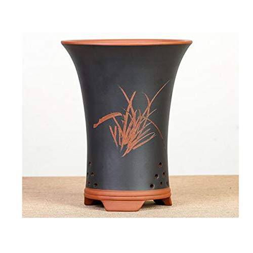 Flower Pot, Fine Purple Sand Pot Large Diameter Breathable Orchid Flower Pot Fleshy Flower Pot Clivia Potted Flower Pot, Blue 20.528.513.5cm (Color : Black, Size : 20.528.513.5cm)