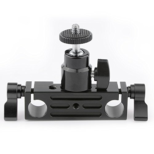 CAMVATE 15mm Rod Clamp Railblock Articulated 1/4 Hot Shoe Mount Mini Ball Head for Camear Flash Bracket Holder(Black)