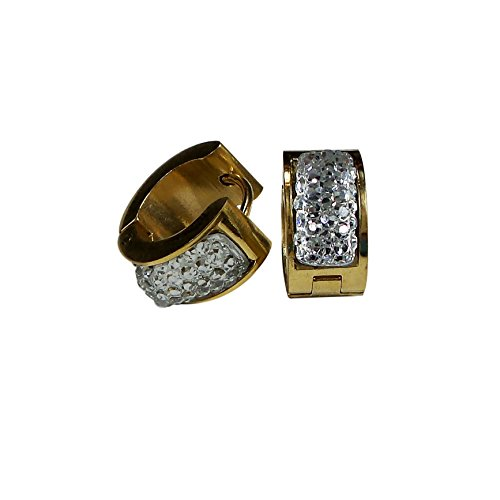 Tone Pave Two Enamel Ring (Stainless Steel Huggie Earrings Crystals Enamels (Round Pave Crystals))