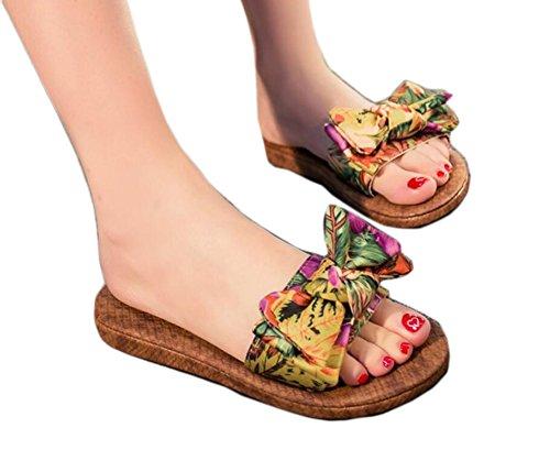 Da.Wa Sandalias y Chanclas Zapatos de Verano Femenino Estilo Nudo de Proa Para Interior y Playa