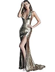 Gold Halter Neckline Backless Sequin Prom Dress