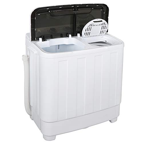SUPER DEAL Portable Washing Machine 17.6lbs Twin Tub Wash and Spin Cycle w/Gravity Drain and Hose