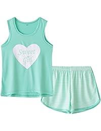 Big Kids Girls Sleeveless Sleepwears Hearts Shape Striped Pajama Nightgown