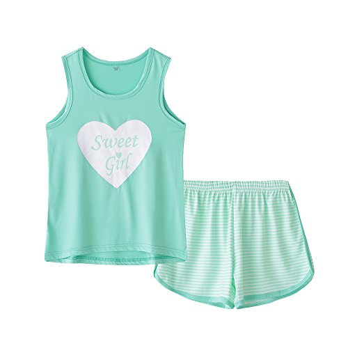 MyFav Big Kids Girls Sleeveless Sleepwears Hearts Shape Striped Pajama Nightgown