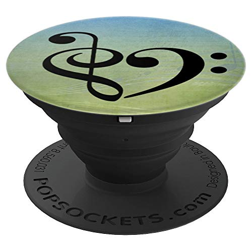 Treble Clef + Bass Clef Heart over Blue Green Sheet Music - PopSockets Grip and Stand for Phones and Tablets