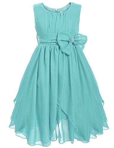 Arshiner Little Girls Flower Dress Sleeveless Asymmetric Chiffon Ruffled Dress