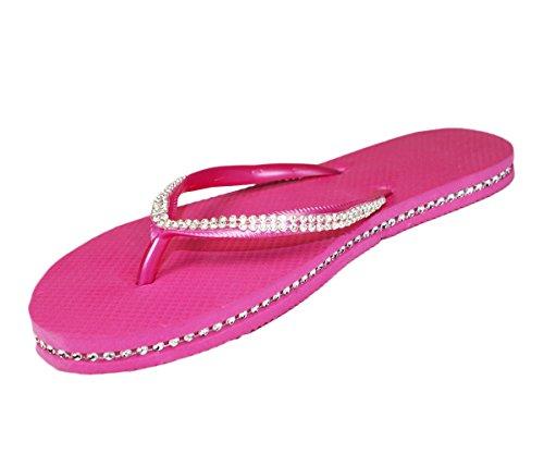 Sugar Island® Dame-Mädchen Diamante Flipflops Zehentrenner-Pink-5/6 SpZSw3tn