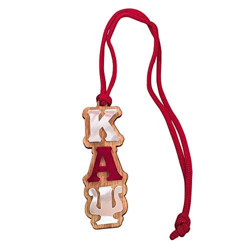 Kappa Alpha Psi #MED-O Oak Wood Backed Mirror Letter Greek Medallion 16 Inch Long Tiki Necklace Nupe (Alpha Merchandise)