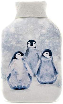 Casandra Wärmflasche und Bezug, Geschenkset Luxus Kunstfell und Fleece. Pinguin-Design erhalten variiert. Flasche 1,8 l, 5 Jahre Herstellergarantie
