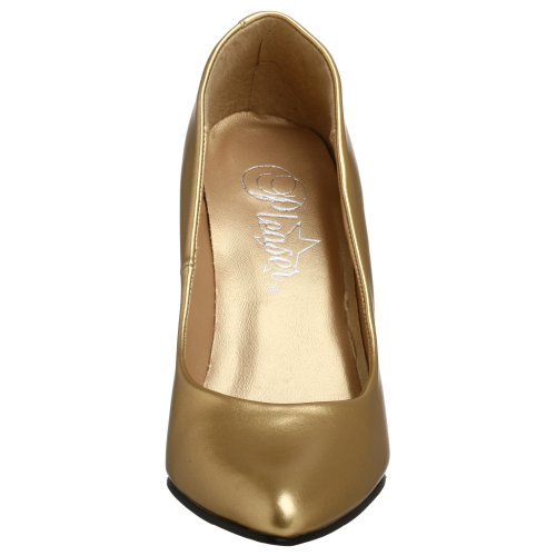 Pleaser Women's Vanity-420 Slide Pump, Silver Gold Faux Leather