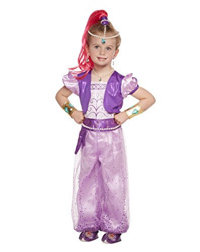 Spirit Halloween Toddler Shimmer Costume Deluxe - Shimmer & Shine,Pink,5T-6T (Pink Genie Costume)