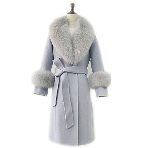 Women's Real Fox Fur Collar Scarf with 2 Matching Cuffs for Parka Jacket Winter Coat (90cm, grey)
