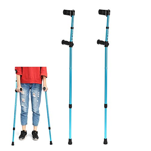 WAOBE Adjustable Crutches, Aluminum Height Adjustable (45 in - 33 in), Forearm Elbow Underarm Crutches Telescopic Blue Folding Walking Sticks,2Pcs