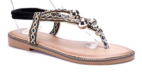 Schuhtempel24 Damen Schuhe Zehentrenner Sandalen Sandaletten Flach  Ziersteine Schwarz d24b3cfdc8
