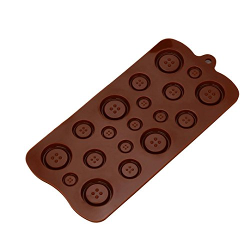 Coohole 3D DIY Buttons Silicone Fondant Mould Chocolate Sugarcraft Cake Mold Baking Tool (Brown)