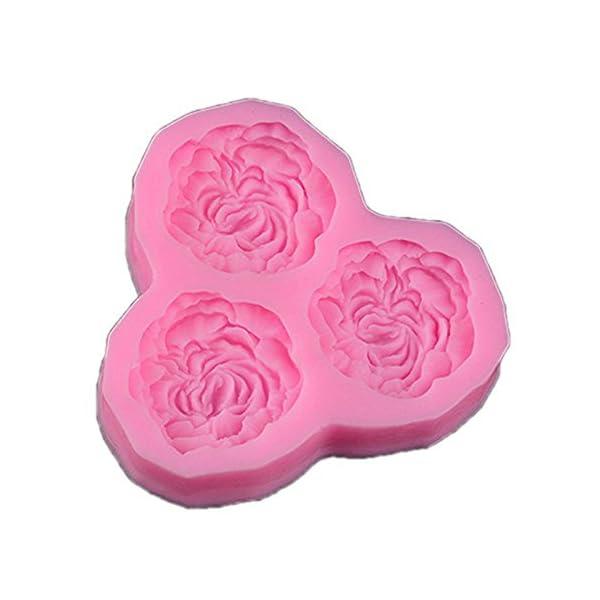 hosaire Stampo pasticceria pratica Stampo in silicone per gelato Jelly torta al zucchero in forma di rosa fiori 3Cavità kawaii stampo pasticceria cioccolato Decorazione cottura 1 spesavip