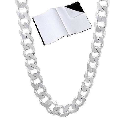 Men's 6.5mm Thick .925 Sterling Silver Beveled Cuban Link Curb Chain Necklace, 24 inches