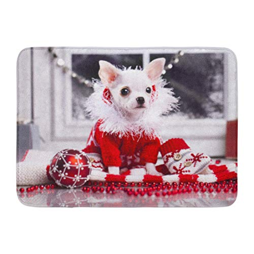 Aabagael Bath Mat Dog White Christmas Chihuahua Puppy Dressed in Red Sweater Chiwawa Adorable Bathroom Decor Rug 16