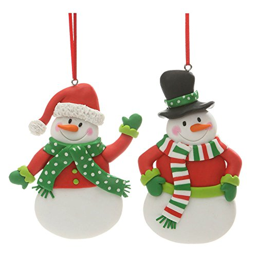 Santa Snowman Ornament (Christmas Holiday Handmade Clay Snowman Figure Ornament 4.5