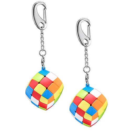 Speed Keychain Cube Easter Basket Stuffers Egg Fillers - Key Ring 3x3 Magic Cube Puzzle - Mini Toy Stickerless Toys Pocket Size for Kids - 2 Packs