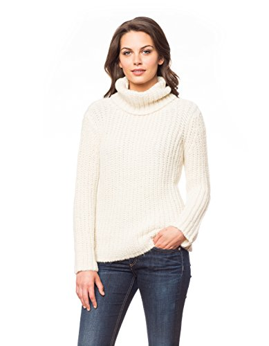 Invisible World Women's Brushed Baby Alpaca Turtle Neck Sweater Ivory SM Baby Alpaca Jacket
