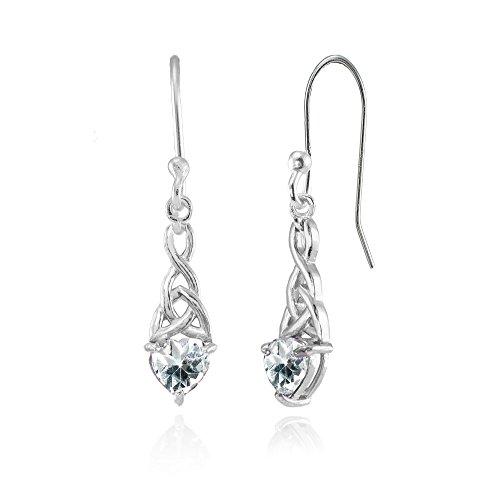 Heart Shaped Aquamarine Earrings - 2