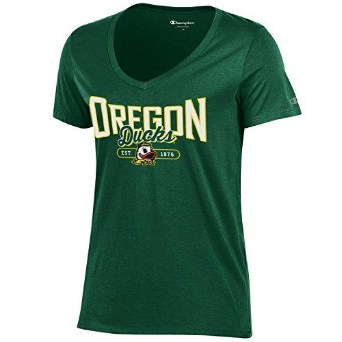 Champion NCAA Women's University Short Sleeve Tagless Lady's V-Neck Tee, Oregon Ducks, X-Small