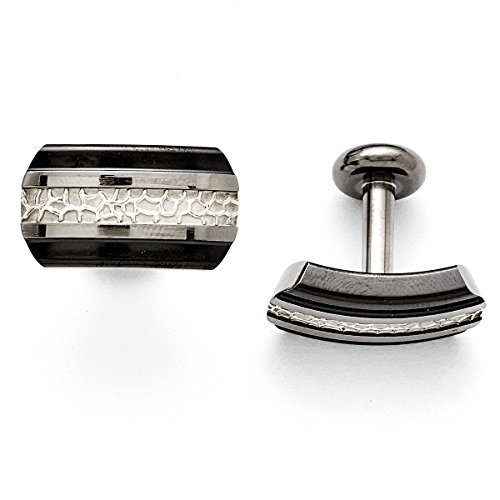 Titanium Black Ti/Sterling Silver Polished Cuff Links TBC130<BR>Polished | Sterling silver | Black (Sterling Silver Two Tone Cufflinks)