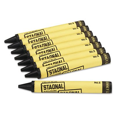 Staonal Marking Crayons, Black, 8/Box, Sold as 8 Each