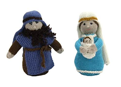 Global Handmade Hope Fair Trade Hand Knit Soft Alpaca Holy Family Nativity Set with 3 Pieces from Peru, a Creche for All Ages