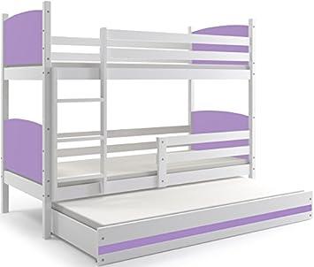 Interbeds Cama litera Triple, Tami, para niños y niñas, para colchones 190X80, (colchones,somieres y cajón Gratis), Color Blanco, los Paneles (Violeta): ...