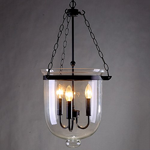JinYuZe Retro Rustic Clear Glass Bell Jar Chain Ceiling Pendant Light with 3 Candle Lights (Large - 300mmDia)