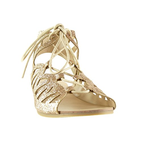 Angkorly - damen Schuhe Sandalen - Römersandalen - Sexy - String Tanga - glitzer - Multi-Zaum Blockabsatz 1 CM - Champagner