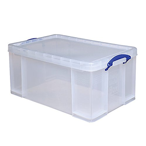 Really Useful Clear Transparent Plastic Storage Box, 64 Liters Features Attached Handles Make It Easy To Carry (Really Useful Boxes)