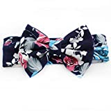 Trendy European Spring/Summer Floral Cotton Infantile Bow Headband Hot-Sale Elastic Kids Girl DIY Hair