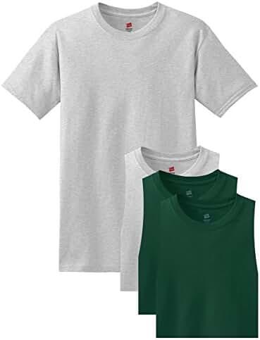 Hanes Men's Comfortsoft T-Shirt, 2 Ash / 2 Deep Forest, XL (Pack of 4)