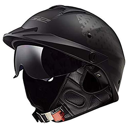 Motorcycle Helmet Vents - LS2 Helmets Motorcycle & Powersports Helmet's Half Rebellion (1812 Matte Black Flag, Large)