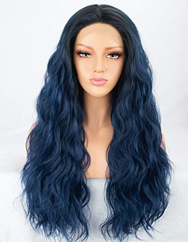 Persephone Navy Blue Lace Front Wig Wavy Glueless Long Synthetic Wigs Ombre Blue for Women 2 Tones Hair Replacement Wigs Heat Resistant ()