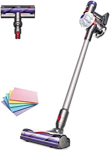 Flagship Dyson V7 Allergy HEPA Cordless Stick Vacuum Cleaner: Bagless Ergonomic, Telescopic Handle, Rechargeable, Carpet/Edge Cleaning, Height Adjustable Battery Operated White + iCarp Sponge Cloth