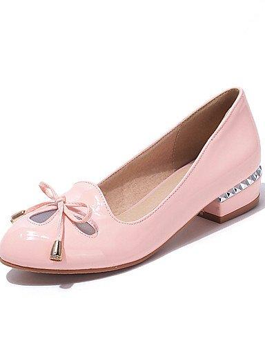 ZQ Zapatos de mujer-Tac¨®n Robusto-Confort / Puntiagudos-Tacones-Oficina y Trabajo / Casual-Cuero Patentado-Negro / Rosa / Almendra , pink-us10.5 / eu42 / uk8.5 / cn43 , pink-us10.5 / eu42 / uk8.5 / c pink-us5 / eu35 / uk3 / cn34