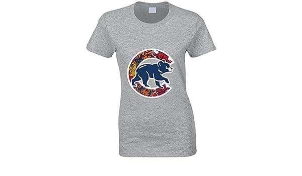 f3bad0051dc1b Chicago Cubs camiseta para mujer bajera equipos de Chicago Bulls osos  Blackhawks camiseta.  Amazon.es  Ropa y accesorios