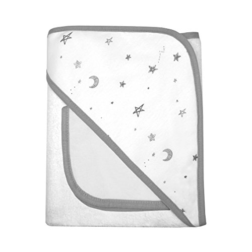 American Baby Company Terry Hooded Towel Set Made with Organic Cotton, Grey Stars and Moon, for Boys and Girls