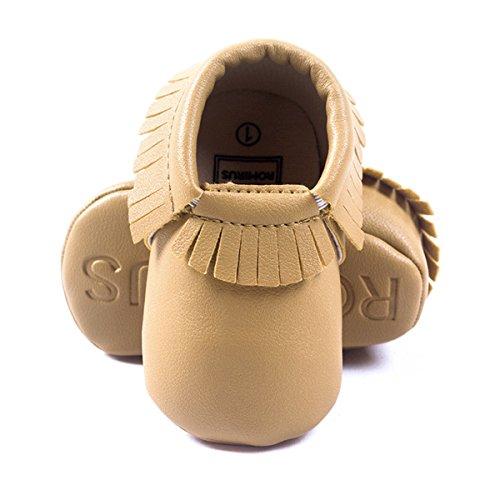 Happy Cherry Zapatos con Borlas Mocasines de PU Piel Suaves Zapatitos Primeros Pasos Calzado Infantil para 9-12 Meses Bebés Niñas Niños Baby Prewalker Shoes Longitud 13cm Talla EU 20-21 Color Caqui marrón