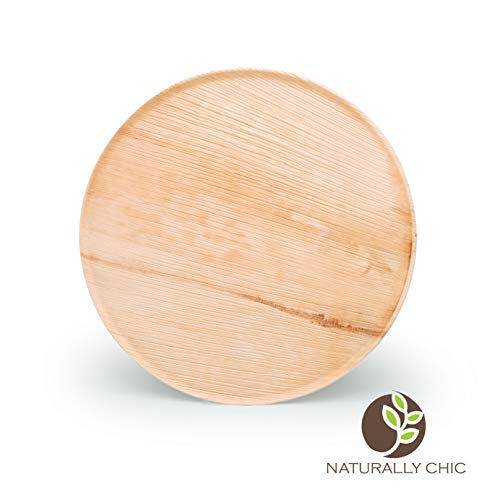 """Naturally Chic 13"""" Round Disposable Palm Leaf Food Trays - 10 Pack - Small Dinnerware Set - Eco-Friendly, Biodegradable & Compostable - Ideal for Weddings, Parties, Home Use, Events"""