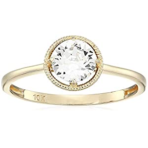 10k Gold Round-Cut Birthstone Ring made with Swarovski Crystal